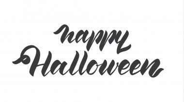 Handwritten lettering of Happy Halloween isolated on white background.