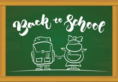 Handwritten lettering of back to school with Schoolboy and schoolgirl with bags on chalkboard background.