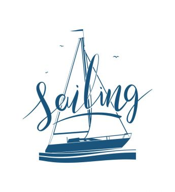 Handwritten lettering of Sailing on yacht silhouette.