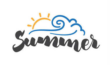 Brush lettering composition of Summer with line sun and wave on white background.