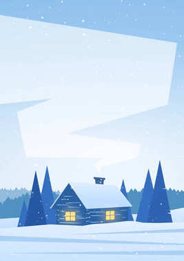 Winter snowy vertical landscape with house in forest and space for text.