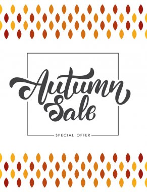 Offer poster with Handwritten lettering composition of Autumn Sale in frame