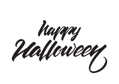 Vector Hand drawn lettering of Happy Halloween isolated on white background