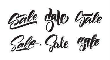 Set of hand lettering type of Sale. Season offer