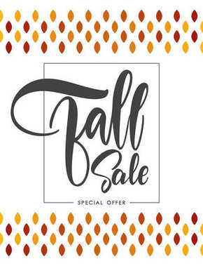Offer poster with Handwritten lettering composition of Fall Sale.