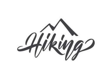 Modern brush lettering type of Hiking with silhouette of mountains.