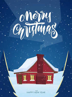 Vector winter greeting card with hand lettering of Merry Christmas and cartoon house with smoke from chimney