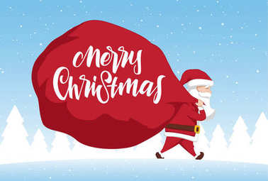 Santa Claus carries a heavy bag full of gifts on winter landscape background. Cartoon scene. Merry Christmas.