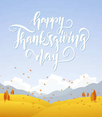 Fall hillside landscape with handwritten lettering of Happy Thanksgiving Day