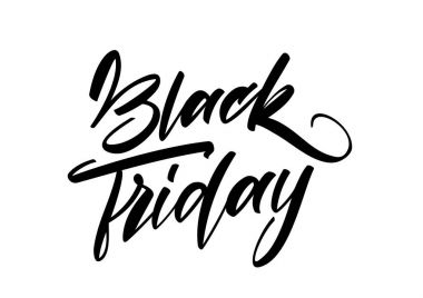 Vector Handwritten lettering type of Black Friday in white background. Typography design of special offer