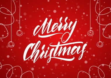 Merry Christmas. Handwritten elegant classic brush lettering with hand drawn decoration on red snowflake background.