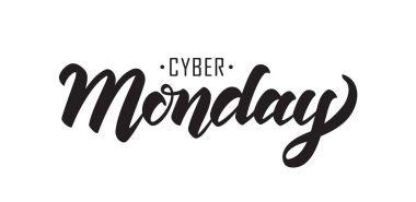 Vector illustration: Handwritten lettering of Cyber Monday