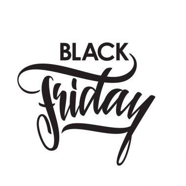 Handwritten brush lettering of Black Friday isolated on white background