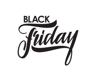 Handwritten brush type lettering of Black Friday isolated on white background
