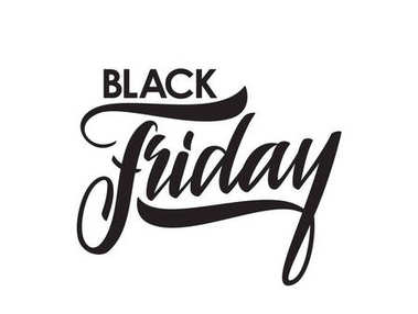 Handwritten brush type lettering of Black Friday isolated on white background