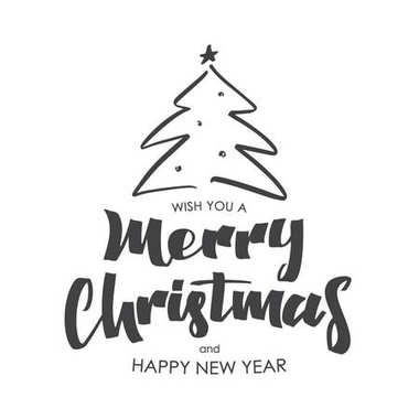 Hand drawn type lettering composition of Merry Christmas and Happy New Year on white background