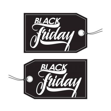 Set of Black Friday sale tags with Hand type lettering.