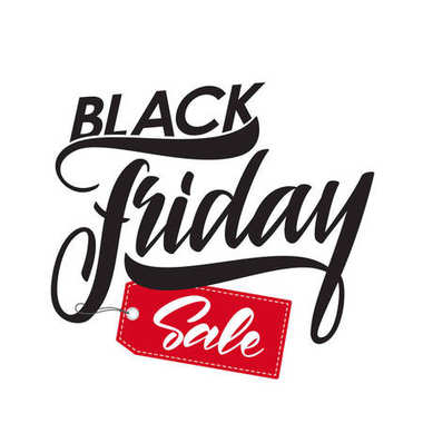 Handwritten type lettering of Black Friday Sale with red tag.