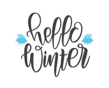 Hello Winter elegant modern brush lettering with snowy leaves on white background