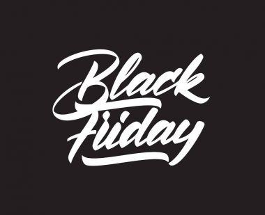 Vector handwritten type lettering of Black Friday on dark background. Typography design