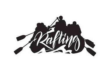 Handwritten lettering on Silhouette of rafting team background. Typography emblem design