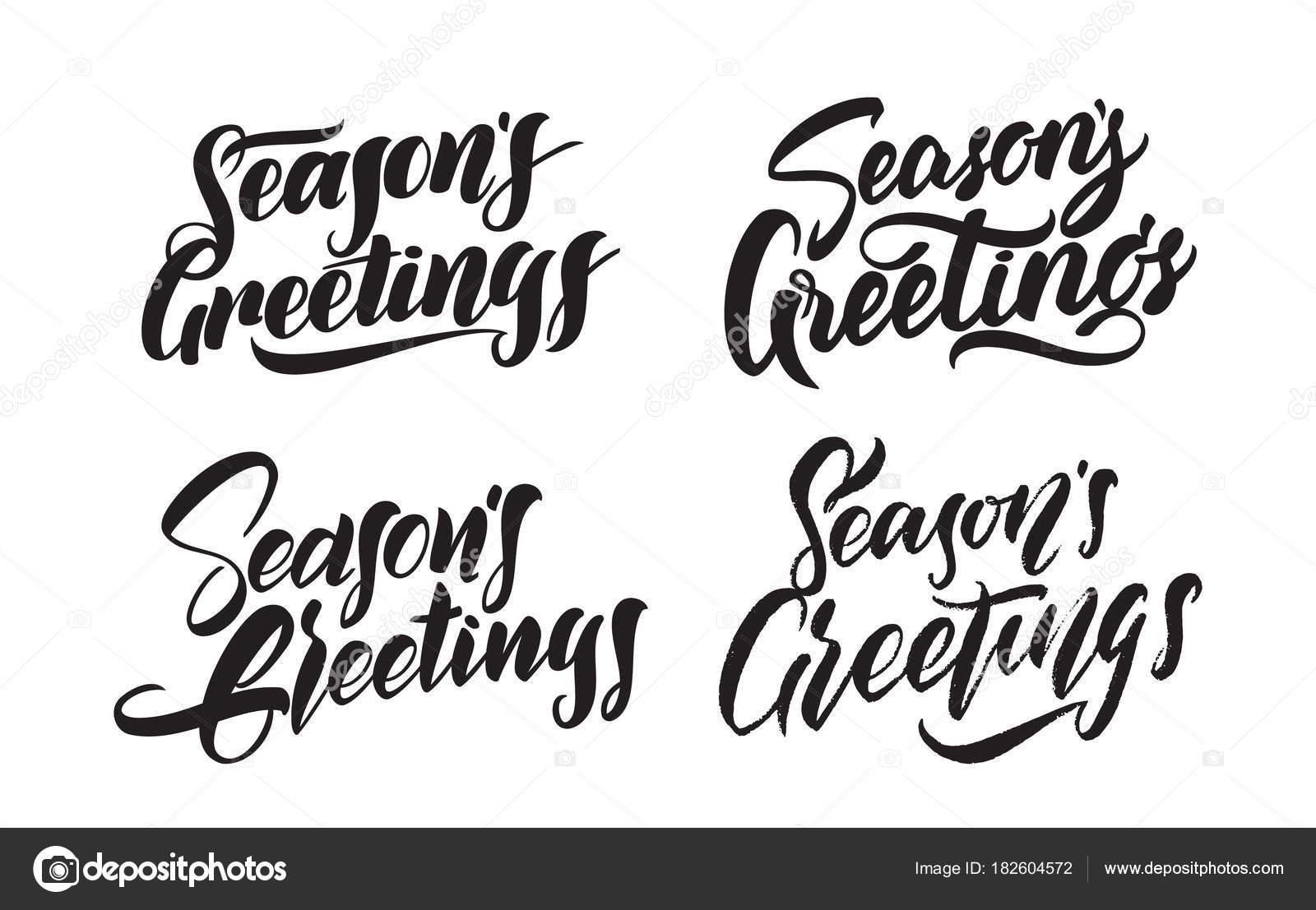 Set Of Handwritten Type Lettering Of Seasons Greetings Typography