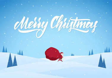 Santa Claus carries a heavy bag full of gifts on winter snowy landscape background. Cartoon scene.