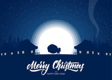 Silhouette of Santa Claus carries a heavy sack full of gifts in village on moon background.