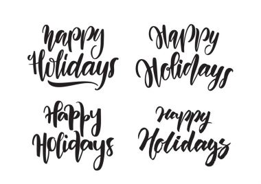 Set of Handwritten type lettering of Happy Holidays. Typography design