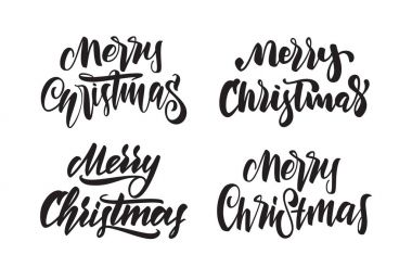Set of Handwritten calligraphic type lettering of Merry Christmas. Typography design for Greetings Cards