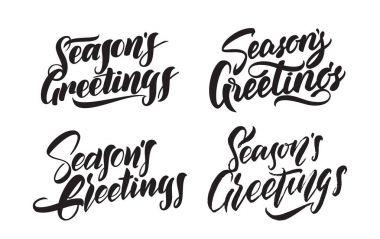 Set of Handwritten type lettering of Seasons Greetings. Typography design