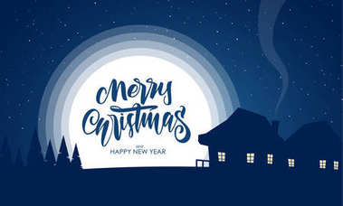 Vector greeting card with flat night silhouette village landscape and handwritten lettering of Merry Christmas.