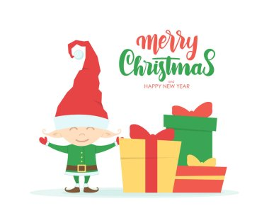 Greeting card with cartoon character of little Elf, gift boxes and handwritten lettering of Merry Christmas