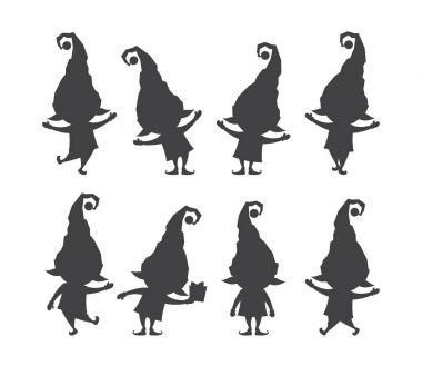 Set of christmas santa claus elf. Silhouettes isolated on white background.