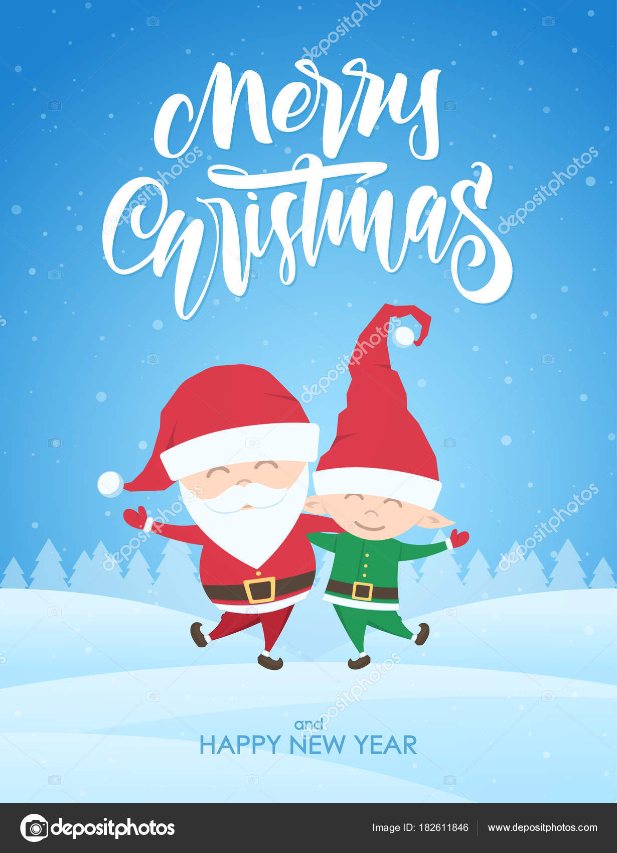 Sfondi Natalizi Innevati.Vettore Sfondi Paesaggi Natalizi Amici Del Fumetto Babbo Natale