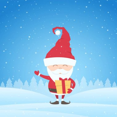 Greeting card with Santa Claus on snowy landscape background