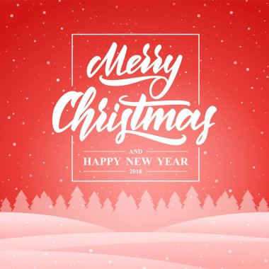Winter greeting card with hand lettering of Merry Christmas and Happy New Year on red snowy background