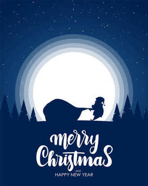 Silhouette of Santa Claus pulls a heavy bag full of gifts. Cartoon scene. Hand drawn lettering of Merry Christmas.