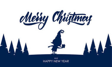 Template for greeting card. Silhouette of elf with gift and hand lettering of Merry Christmas
