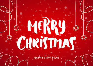 Merry Christmas and Happy New Year. Cartoon brush lettering with hand drawn decoration on red snowflake background.