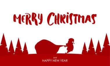 Design template of greeting card with Silhouette of Santa Claus pulls a heavy bag full of gifts.