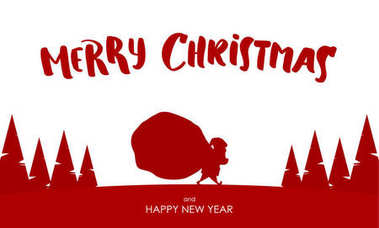 Design template of greeting card with Silhouette of Santa Claus carries a heavy sack full of gifts.