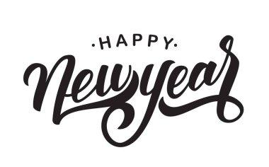 Hand drawn elegant modern brush type lettering of Happy New Year on white background.