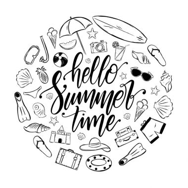 Handwritten elegant brush lettering of Hello Summer Time with set of vacation elements. Tropical Journey decoration.