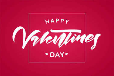 Greeting card with lettering composition of Happy Valentines Day on red background