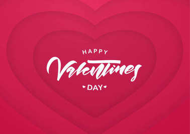 Romantic greeting card with hand lettering of Happy Valentines Day on paper hearts background
