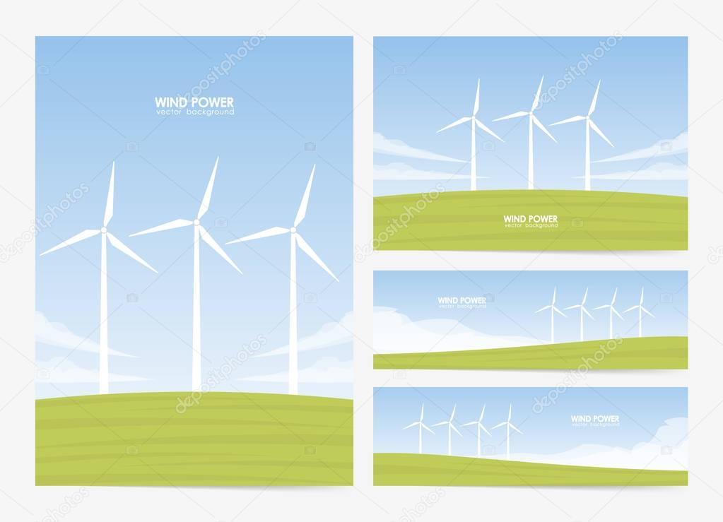 Vector illustration: Set of four layouts with Summer landscape with Wind energy turbines