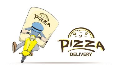 Scene with Isolated courier on scooter and lettering on white background. Cartoon pizza delivery.