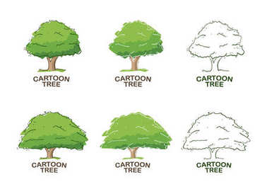 Set of Six templates for logo design with trees. Sketch.