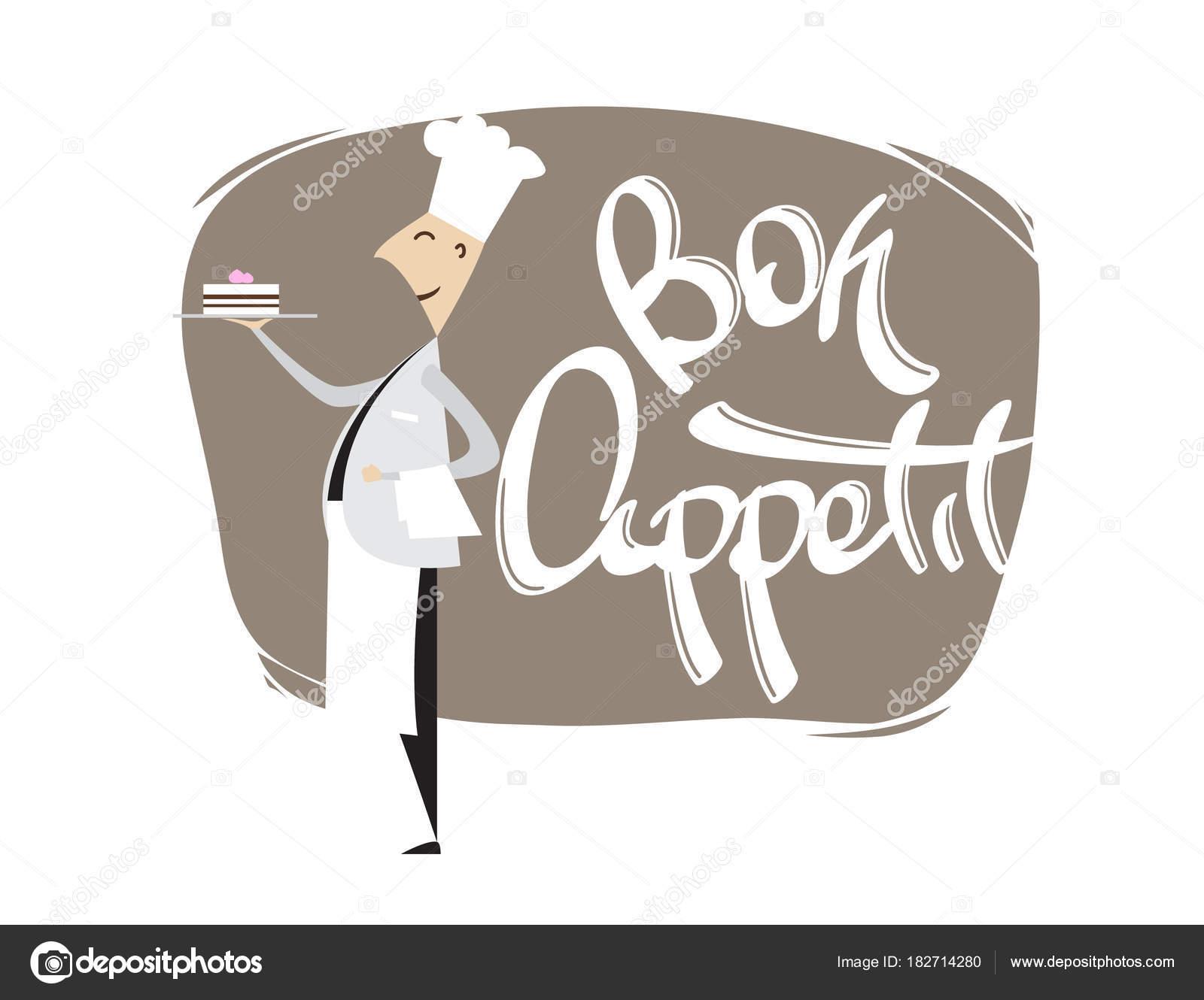 Kresleny Sceny Chef Confectioner S Dort A Rukou Napis Dobrou Chut